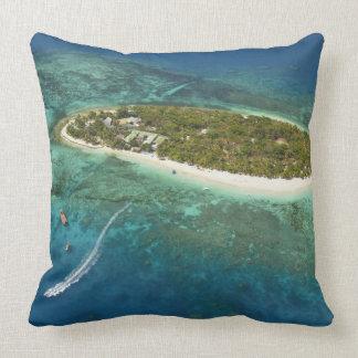 Treasure Island Resort and boat, Fiji Throw Pillow