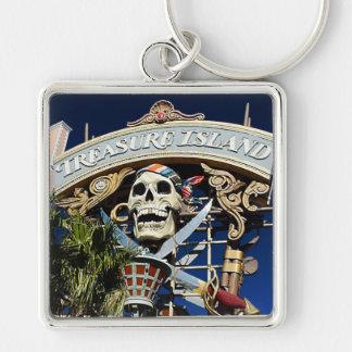 Treasure Island Sign Silver-Colored Square Key Ring