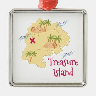 Treasure Island Silver-Colored Square Decoration