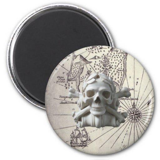 Treasure Island Skull & Bones Pirate Fridge Magnet