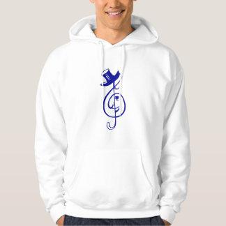 treble blue clef face top hat music design.png sweatshirts