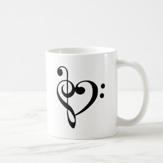 Treble Clef Base Clef Heart Coffee Mug
