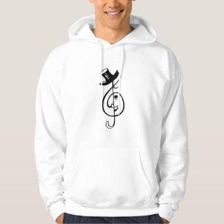 treble clef face top hat music design black.png hooded sweatshirt