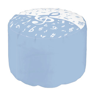 Treble Clef Wave Sky Blue and White Pouf