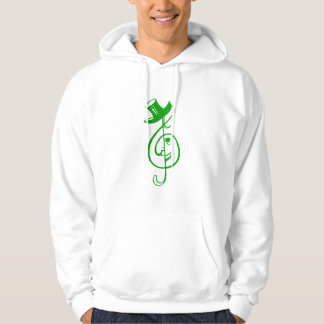 treble green clef face top hat music design.png hooded sweatshirt