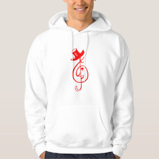 treble red clef face top hat music design.png hooded pullover