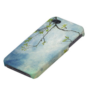 Tree Branch Over Textured Sky iPhone 4 Covers