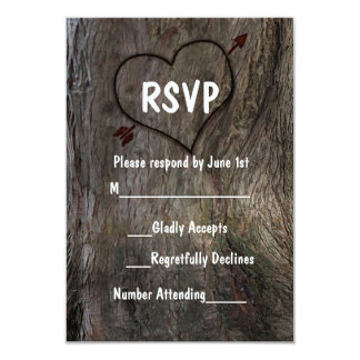 Tree + Carved Heart Rustic Wedding RSVP Card