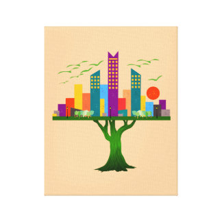 Tree City Colorful Architecture Gallery Wrapped Canvas