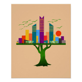 Tree City Colorful Architecture Poster