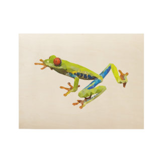 Tree Frog Low Poly Art Wood Poster