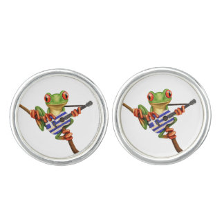 Tree Frog Playing Greek Flag Guitar White Cuff Links