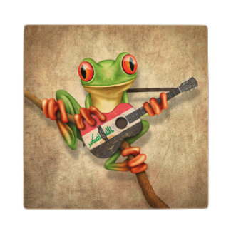 Tree Frog Playing Iraqi Flag Guitar Wood Coaster