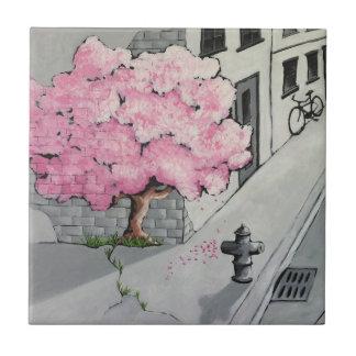 tree graffiti tile