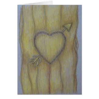 tree heart carving greeting card