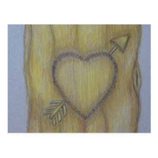 tree heart carving postcard