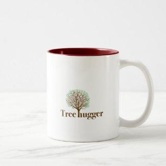 Tree Hugger w/ tree illustration Two-Tone Coffee Mug