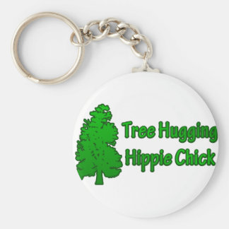 Tree Hugging Hippie Chick Key Ring