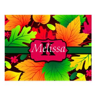 Tree Leaves Monogram Vivid Colors Postcard