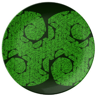 Tree Mandala. Fractal Trees Design on plate. Plate