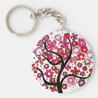 Tree of life key ring basic round button key ring