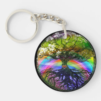 Tree of Life with Rainbow Heart Key Ring