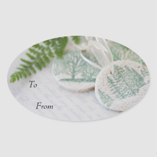 Tree ornaments on old handwriting oval sticker
