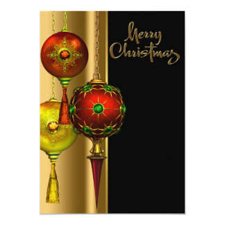 """Tree Ornaments Red and Gold Christmas Party 5"""" X 7"""" Invitation Card"""
