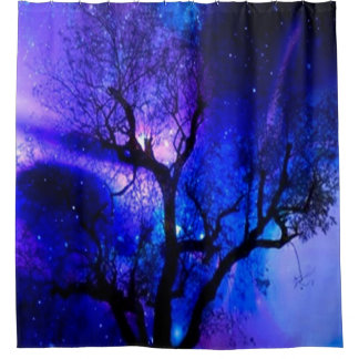 Tree Print Enchanted Forest BathroomShower Curtain