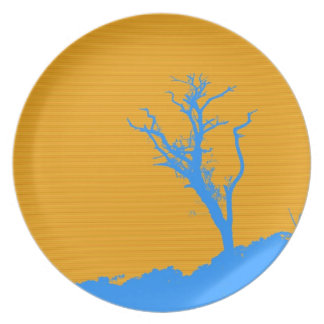 Tree Retro Abstract Art Party Plate