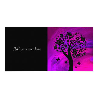 Tree Silhouette and Butterflies Abstract Art Photo Greeting Card