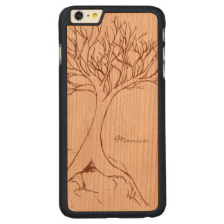 Tree Sketch - Personalized with Name - Carved Cherry iPhone 6 Plus Case