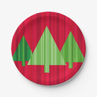 Tree Stripes Paper Plate 7 Inch Paper Plate