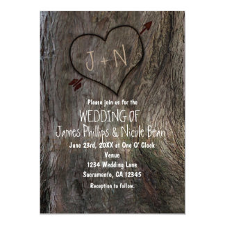 Tree Trunk + Carved Heart Wedding Invitations
