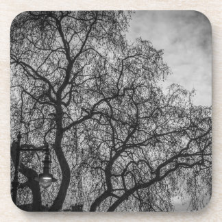 Trees in black and white hard plastic coasters