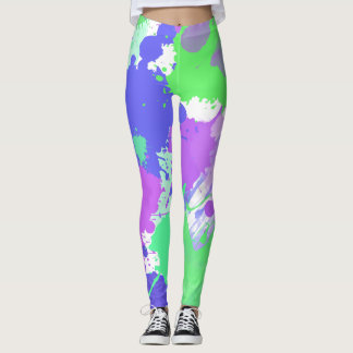 trendy abstract colorful neon brushstrokes leggings