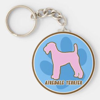 Trendy Airedale Terrier Basic Round Button Key Ring