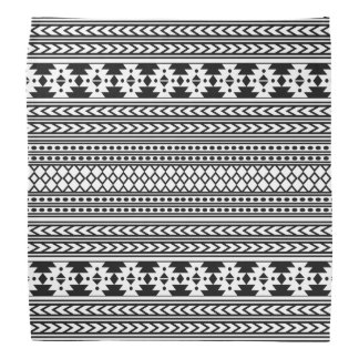 Trendy Aztec Tribal Print Geometric Pattern(Black) Bandannas