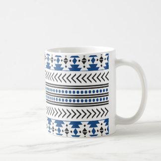 Trendy Aztec Tribal Print Geometric Pattern Blue Coffee Mug