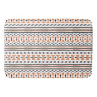 Trendy Aztec Tribal Print Geometric Pattern Orange Bath Mat