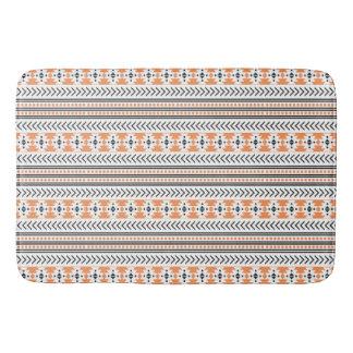 Trendy Aztec Tribal Print Geometric Pattern Orange Bath Mats