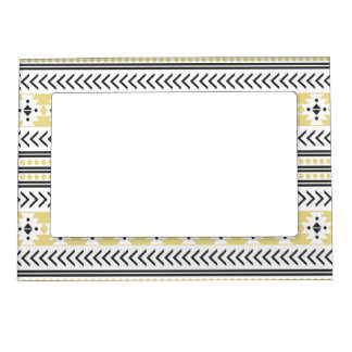 Trendy Aztec Tribal Print Geometric Pattern Yellow Magnetic Picture Frame