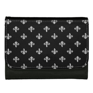 Trendy Black and White Fleur-de-lis Pattern Leather Wallet For Women