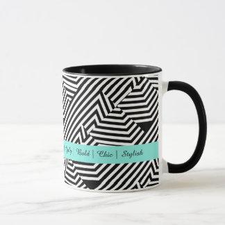 Trendy Black and White Geometric Aqua Fashion Mug