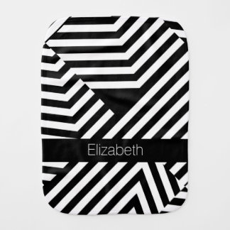 Trendy Black and White Geometric Stripes Baby Name Burp Cloths