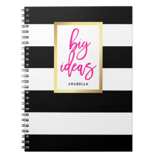 Trendy Black and White Stripes Gold and Typography Notebook