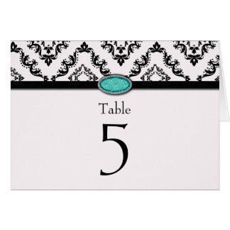 Trendy black damask aqua jewel wedding table card
