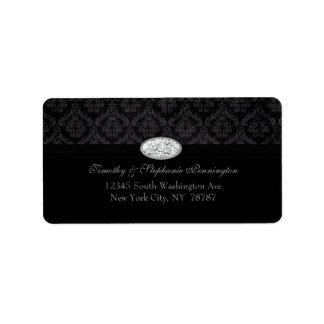 Trendy black damask diamond avery address label