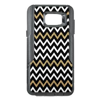 Trendy Black White & Gold Glitter Chevron Pattern