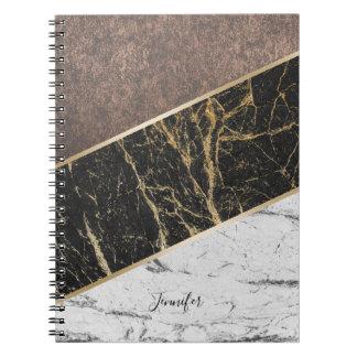 Trendy Black & White Marble Stylish Copper Texture Notebooks